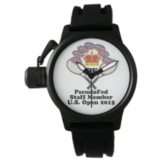 US Men's Crown Protector Black Rubber Strap Watch