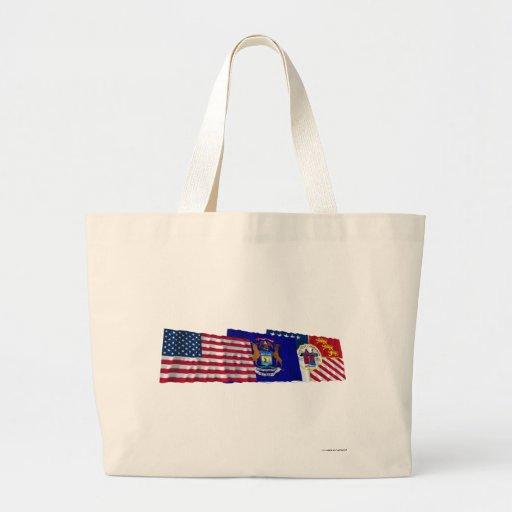 US, Michigan and Detroit Flags Bag