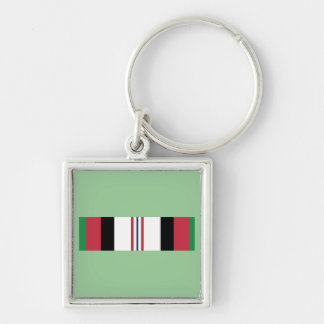 US Military Afghanistan Campaign Ribbon Silver-Colored Square Key Ring