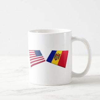 US & Moldova Flags Coffee Mug