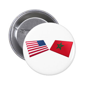 US & Morocco Flags Pinback Button