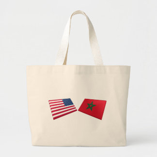 US & Morocco Flags Tote Bags
