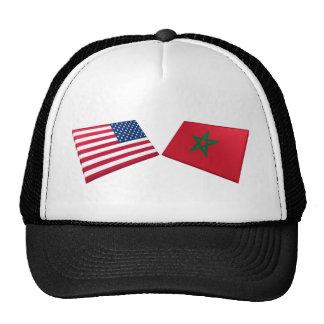 US & Morocco Flags Mesh Hats