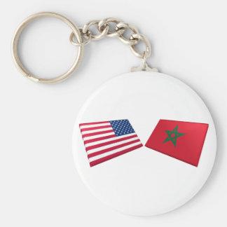 US & Morocco Flags Keychain