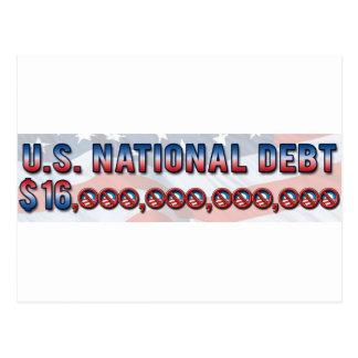 US National Debt $ 16 Trillion Dollars Postcard