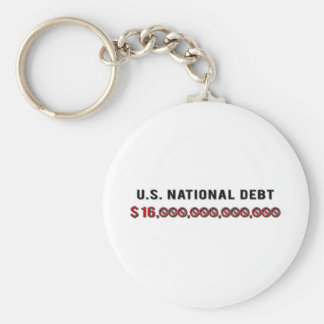 US National Debt Basic Round Button Key Ring