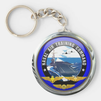 US Naval Air Training Command Basic Round Button Key Ring