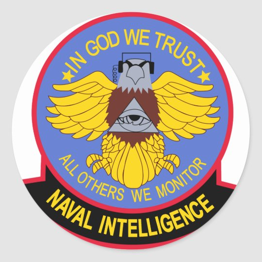 US NAVAL INTELLIGENCE Military Patch Round Sticker