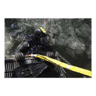 US Navy Diver gets ready to start his dive Photographic Print