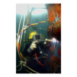 US Navy Diver welds a repair patch Poster