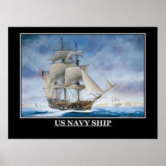 US Navy Sailing Ship Vintage Poster
