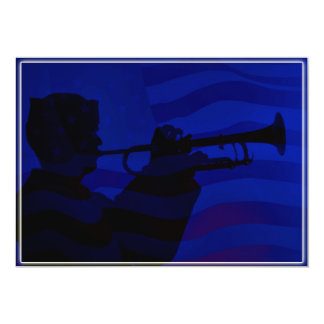 US Navy Sailor Playing Bugle 13 Cm X 18 Cm Invitation Card
