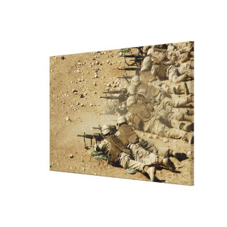 US Navy Seabees fire M-4 and M-16A2 rifles Canvas Print