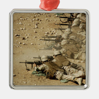 US Navy Seabees fire M-4 and M-16A2 rifles Christmas Ornament