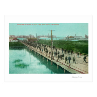 US Navy Yard Workers Off to Work Postcard