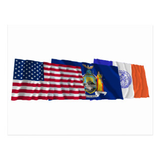 US, New York State and New York City Flags Postcard