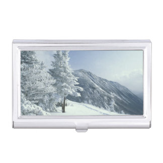 US, NH, Snow covered trees Trails Snoeshoe Business Card Holder