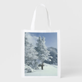 US, NH, Snow covered trees Trails Snoeshoe Reusable Grocery Bag