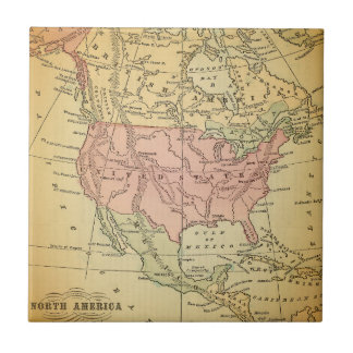 US North America Vintage Map Ceramic Accent Tile