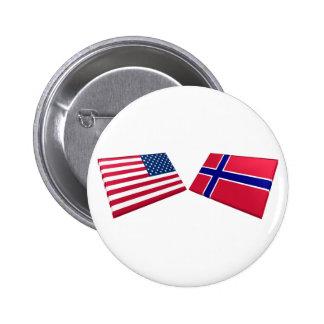 US & Norway Flags 6 Cm Round Badge
