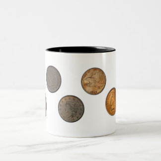 US One Cent Coins Two-Tone Coffee Mug