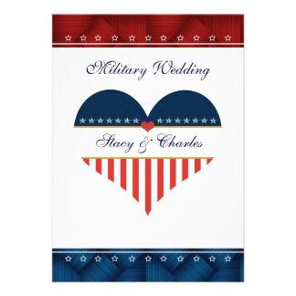 US Patriotic Heart Personalised Wedding Invitation