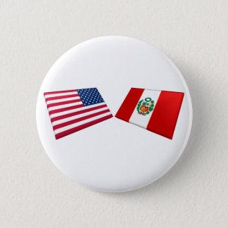 US & Peru Flags 6 Cm Round Badge