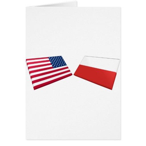 US & Poland Flags Cards
