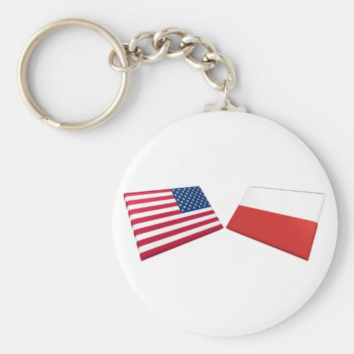 US & Poland Flags Keychain
