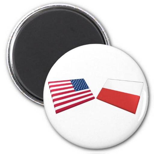 US & Poland Flags Refrigerator Magnet
