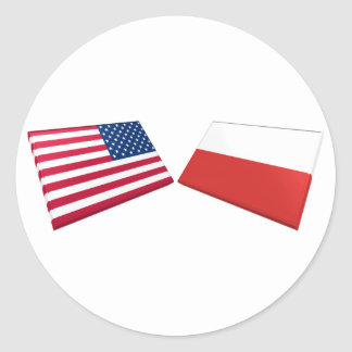 US & Poland Flags Round Stickers