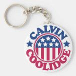 US President Calvin Coolidge Basic Round Button Key Ring