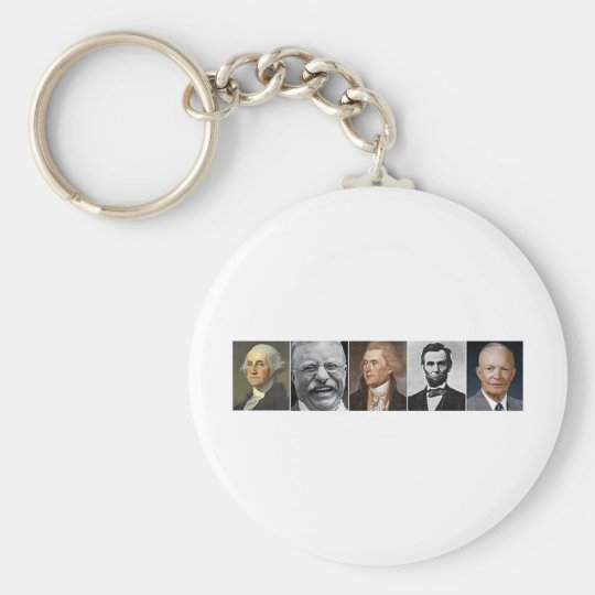 US Presidents Basic Round Button Key Ring