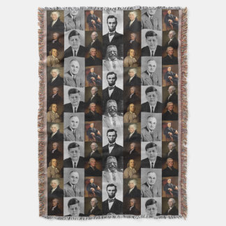 US Presidents Plus Hamilton and Franklin History Throw Blanket
