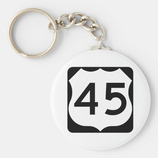 US Route 45 Sign Basic Round Button Key Ring