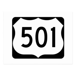 US Route 501 Sign Postcard