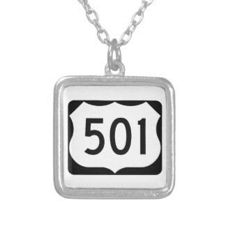 US Route 501 Sign Square Pendant Necklace