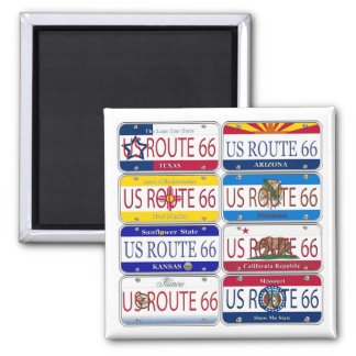 US ROUTE 66 All 8 States Vanity Plates Square Magnet