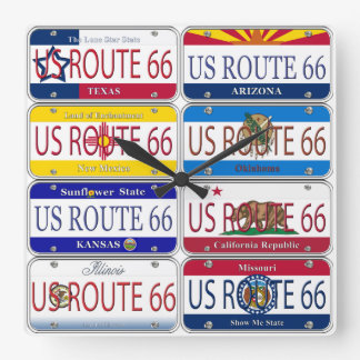 US ROUTE 66 All 8 States Vanity Plates Square Wall Clock