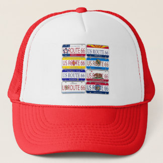 US ROUTE 66 All 8 States Vanity Plates Trucker Hat