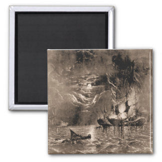 US Ship Bonhomme Richard in action Square Magnet