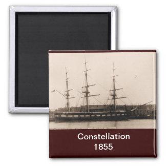 US ship Constellation 1855 Square Magnet