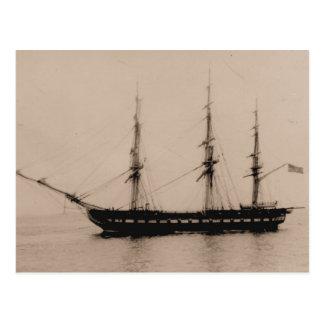 US ship Constellation at anchor Postcard