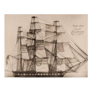 US ship Constellation sailplan Postcard