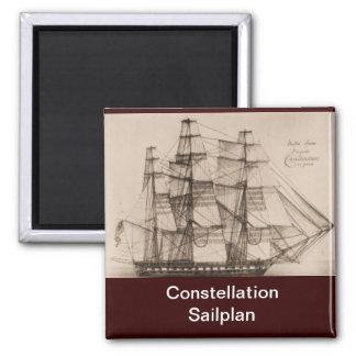 US ship Constellation Sailplan Square Magnet