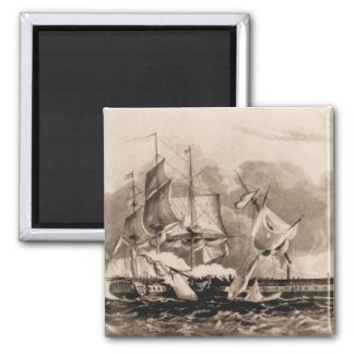 US ship Constitution in action Square Magnet
