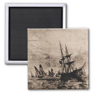 US ship Philadelphia 1800 Square Magnet