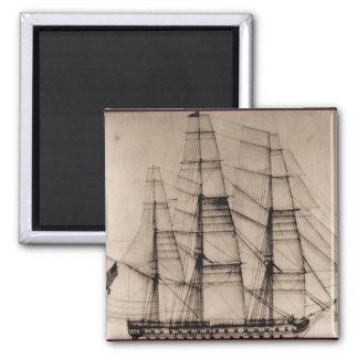 US Ships Columbus sailplan Square Magnet