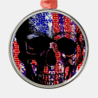 US Skull in a digital circuit Christmas Ornament