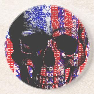 US Skull in a digital circuit Coaster